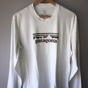 Patagonia White Long Sleeve Logo T